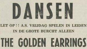 Show announcement The Golden Earrings September 15, 1967 Leiden