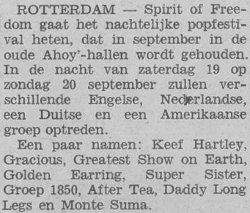 Internet information about Golden Earring performance September 19 1970 at Spirit of Freedom popfestival