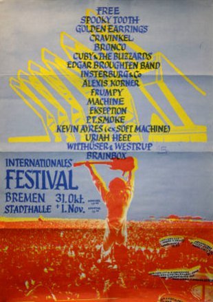 Festival poster Bremen with Golden Earring perfomance November 01, 1970