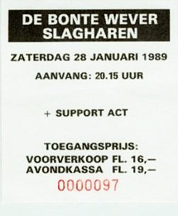 Golden Earring show ticket Slagharen - Bonte Wever January 28, 1989