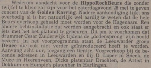 Golden Earring show announcement May 26, 1979 Leeuwarden - Beursgebouw