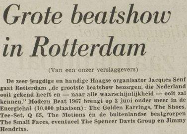 Modern Beat'67 festival festival announcement June 03 1967 Rotterdam - Energiehal